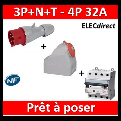 Legrand - P17 IP44 32A - 380V~ à 415V~ - 3P+N+T + Disjoncteur dif. 32A 4P 30mA AC - Mâle+socle - 555239+555259+411189