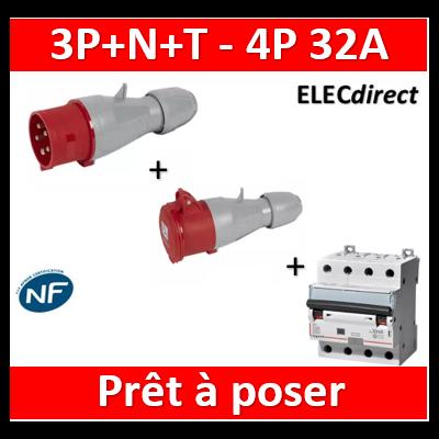 Legrand - P17 IP44 32A - 380V~ à 415V~ - 3P+N+T + disjoncteur dif. 32A 4P 30mA AC - 555239+555219+411189