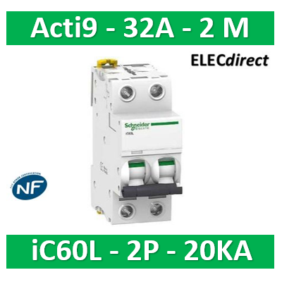 Schneider - Disjoncteur Acti9 - iC60L - 2P - 32A - 20kA - courbe C - A9F94232