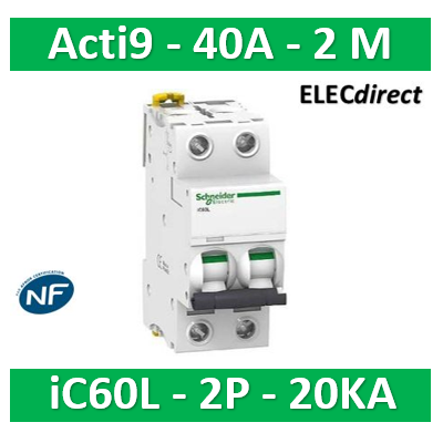 Schneider - Disjoncteur Acti9 - iC60L - 2P - 40A - 20kA - courbe C - A9F94240
