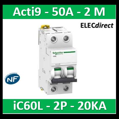 Schneider - Disjoncteur Acti9 - iC60L - 2P - 50A - 20kA - courbe C - A9F94250