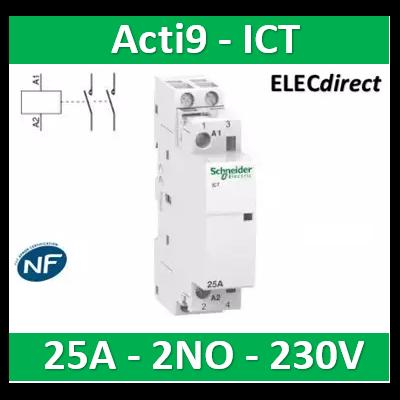 Schneider - Contacteur Acti9 - ICT - 25A - 2NO - 230/240V 50Hz - A9C20732