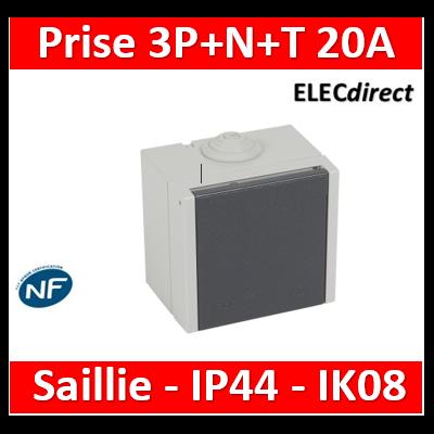 Legrand Plexo - Saillie - prise étanche Plexo 20 A - 3P+N+T - IP44-IK08 - gris- 055707