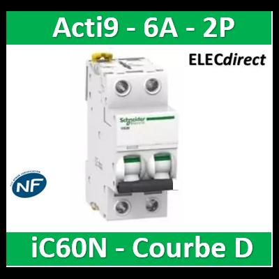 Schneider - Acti9-IC60N Disjoncteur 2P - 6A Courbe D - A9F75206