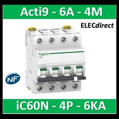 Schneider - Disjoncteur Acti9 - iC60N - 4P - 6A - 6kA - courbe C - A9F77406