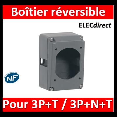 Legrand Plexo - Boîtier réversible simple Hypra pour prise 3P+T et 3P+N+T IP44 et IP66/67-55 16A - plastique - 052229