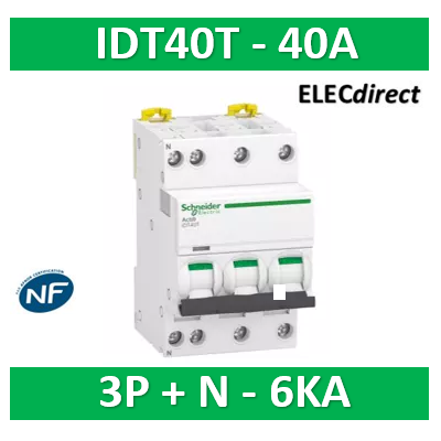 Schneider - Acti9 iDT40T - disjoncteur modulaire - 3P+N - 40A - courbe C - 4500A/6kA - A9P22740