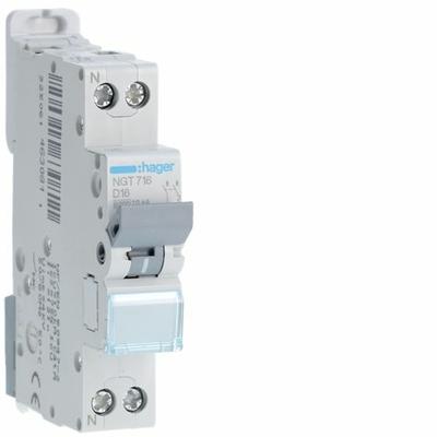 HAGER - Disjoncteur 1P+N 6-10kA courbe D - 16A 1 module - NGT716