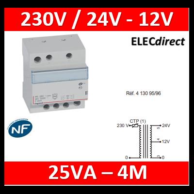 Legrand - Transformateur de sécurité - 230 V / 12 ou 24 V - 25 VA - 413096