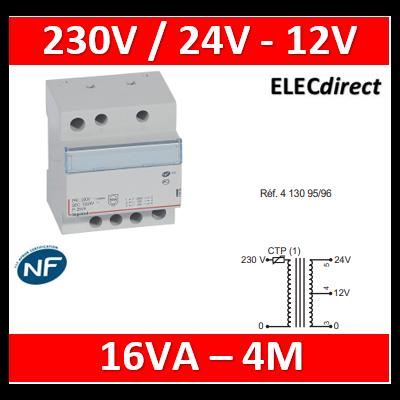 Legrand - Transformateur de sécurité - 230 V / 12 ou 24 V - 16 VA - 413095