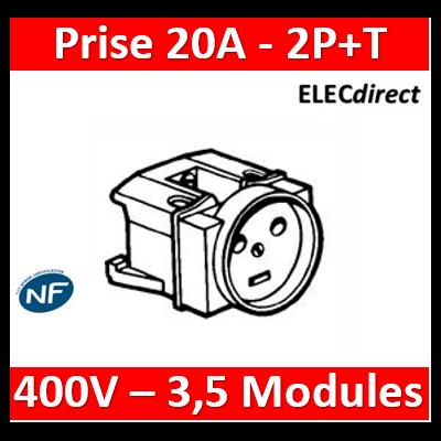 Legrand - Prise de courant modulaire 20A 400V~ - 2P+T à éclips - 3,5 modules - 004290