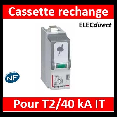 Legrand - Cassette de remplacement pour parafoudre basse tension typeT2 440V~ ( IT ) Imax 40kA - 412301