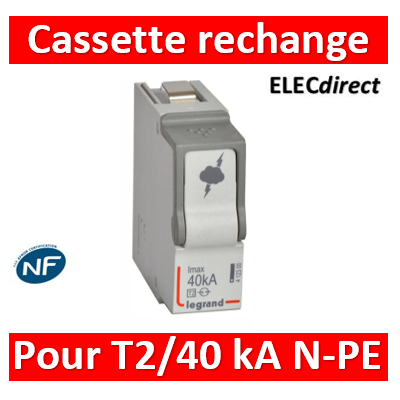 Legrand - Cassette de remplacement N-PE pour parafoudre basse tension typeT2 Imax 40kA - 412300