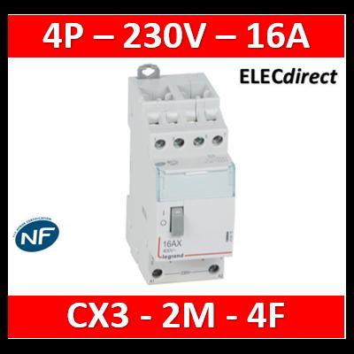 Legrand - Télérupteur CX³ standard avec bornes à vis 4P 16A 400V~ contact 4F - tension commande 230V~ - 2M - 412416