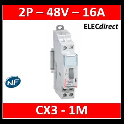 Legrand - Télérupteur CX³ standard avec bornes à vis 2P 16A 250V~ contact 2F - tension commande 48V~ - 1M - 412411