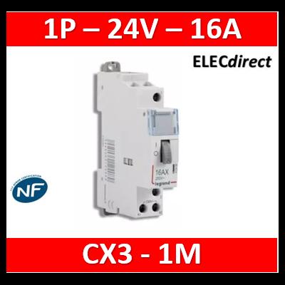 Legrand - Télérupteur CX³ standard avec bornes à vis 1P 16A 250V~ contact 1F - tension commande 24V~ - 1M - 412405
