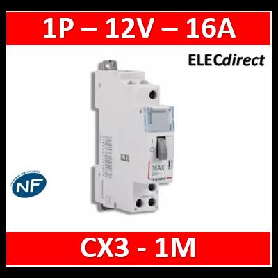 Legrand - Télérupteur CX³ standard avec bornes à vis 1P 16A 250V~ contact 1F - tension commande 12V~ - 1M - 412404
