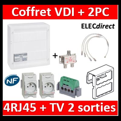 Legrand - Coffret VDI GRADE 2 avec brassage STP - 4 RJ45 / TV 2 sorties + 2PC - 413248+004280x2