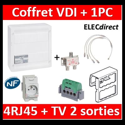 Legrand - Coffret VDI GRADE 2 avec brassage STP - 4 RJ45 / TV 2 sorties + 1PC - 413248+004280