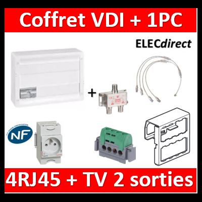 Legrand - Coffret VDI GRADE 2 avec brassage 18M STP - TV sur RJ45 - 4 RJ45  + 1 PC - 418248+004280
