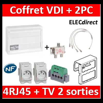 Legrand - Coffret VDI GRADE 2 avec brassage 18M STP - TV sur RJ45 - 4 RJ45 + 1 PC - 418248+004280x2