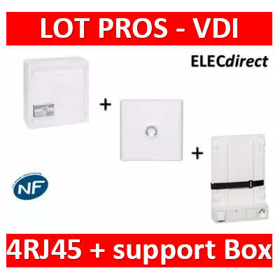 Legrand - Coffret VDI GRADE 2 - 4 RJ45 + Porte + Support Box - 413248+401331+413149