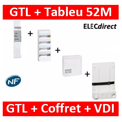 Legrand - Kit GTL 13M complet + tableau 52M + VDI 4RJ45 + support - 030037+401214+413248+413149