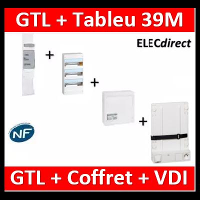 Legrand - Kit GTL 13M complet + tableau 39M + VDI 4RJ45 + support - 030037+401213+413248+413149