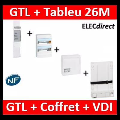 Legrand - Kit GTL 13M complet + tableau 26M + VDI 4RJ45 + support - 030037+401212+413248+413149