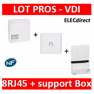 Legrand - Coffret VDI GRADE 2 - 8 RJ45 + Porte + Support Box - 413248+401331+413149+413083x4