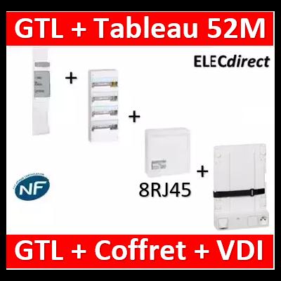 Legrand - Kit GTL 13M complet + tableau 52M + VDI 8RJ45 + support - 030037+401214+413248+413149+413083x4