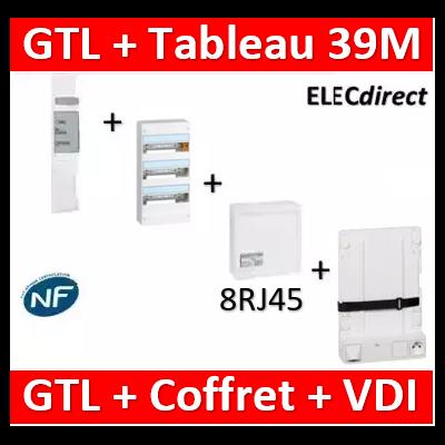 Legrand - Kit GTL 13M complet + tableau 39M + VDI 8RJ45 + support - 030037+401213+413248+413149+413083x4