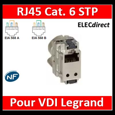 Legrand - Cat.6 RJ45 STP pour coffret double PLAY et basique avec brassage - 413083