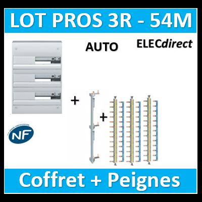 Hager - Coffret GAMMA 54 Modules - 3R de 18M + peigne V/H AUTO - GD318A+KCN325+KBS763Gx3