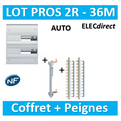 Hager - Coffret GAMMA 36 Modules - 2R de 18M + peigne V/H AUTO - GD218A+KCN225+KBS763Gx2