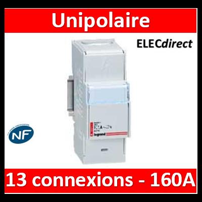Legrand - Répartiteur mod associable Lexic - 1P - 160 A - 13 connexions - 004883