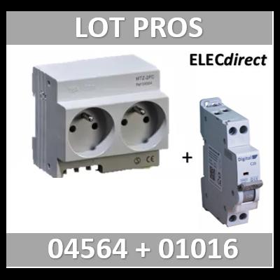 DIGITAL ELECTIRC - LOT PROS - 2xPC 2P+T Modulaire précâblé DIGITAL + disjoncteur 16A - 04564+01016