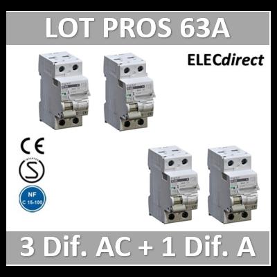 LOT de 4 inter différentiels DX3 - (3 - ID 2x63A 30mA AC - ID 2x63A 30mA A) 03414x3 + 03424