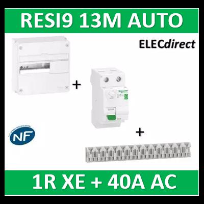 Schneider - Resi9 - coffret 13M - 1R + peignes AUTO XE + Dif. 40A AC 30mA - R9H13401+R9ERC240+R9EXHS13