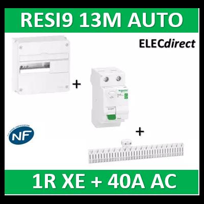 Schneider - Resi9 - coffret 13M - 1R + peignes AUTO XE + Dif. 40A AC 30mA - R9H13401+R9ERC240+R9EXHC13