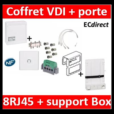 Legrand - Coffret VDI GRADE 2 STP - 8 RJ45 / TV 6 sorties - 413248+SN6W+7 fiches F+413083+401331+413149
