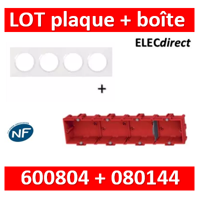 Legrand Dooxie - Plaque 4 postes + Boîte Batibox Legrand 4 postes - Hor/vert - 600804+080144