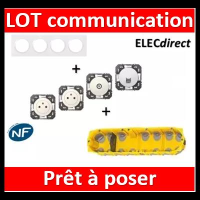 Legrand Dooxie - Lot plaque quadruple + 2 PC + 1 prise TV + 1 prise RJ45 + boîte Batibox BBC