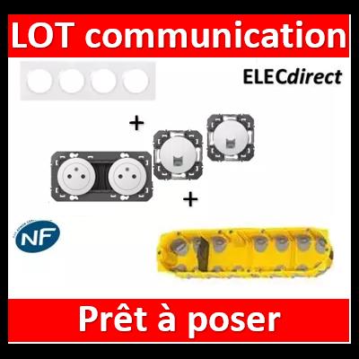 Legrand Dooxie - Lot plaque quadruple + 2 PC + 2 prises RJ45 Cat 6 + boîte Batibox BBC