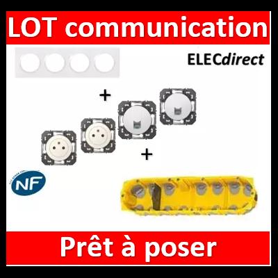 Legrand Dooxie - Lot plaque quadruple + 2 PC + 2 prises RJ45 cat6 + boîte Batibox BBC