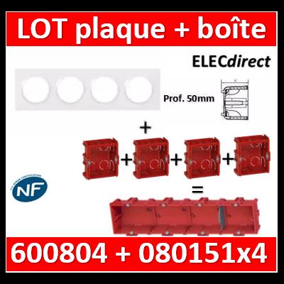Legrand Dooxie - Plaque 4 postes + Boîte Batibox Legrand 4 postes prof. 50mm - Hor/vert - 600804+080151x4