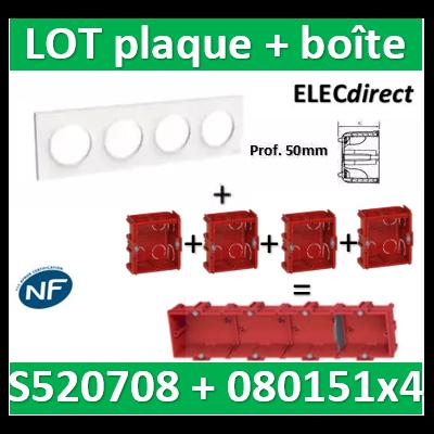 Schneider Odace - Plaque 4 postes + Boîte batibox à sceller Legrand 4 postes - Hor/vert - s520708+080151x4