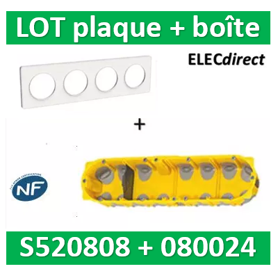 Schneider Odace - Plaque 4 postes + Boîte batibox BBC Legrand 4 postes - Hor/vert - s520808+080024
