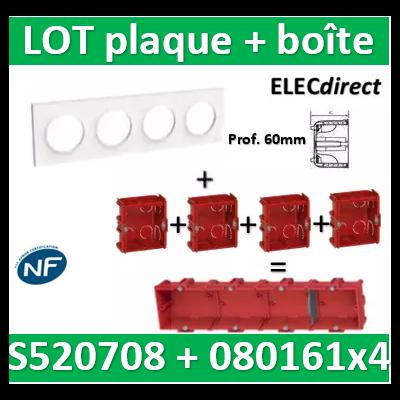 Schneider Odace - Plaque 4 postes + Boîte batibox à sceller Legrand 4 postes - Hor/vert - s520708+080161x4