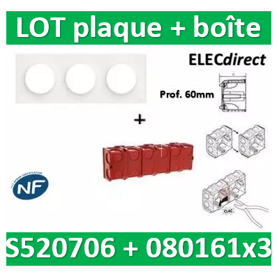 Schneider Odace - Plaque 3 postes + Boîte Batibox à sceller Legrand 3 postes - Hor/vert - s520706+080161x3